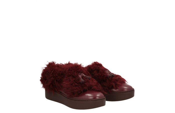 Burgundy calfskin Fur sneakers
