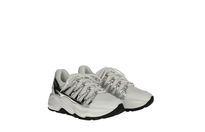 White and silver Roundup sneakers