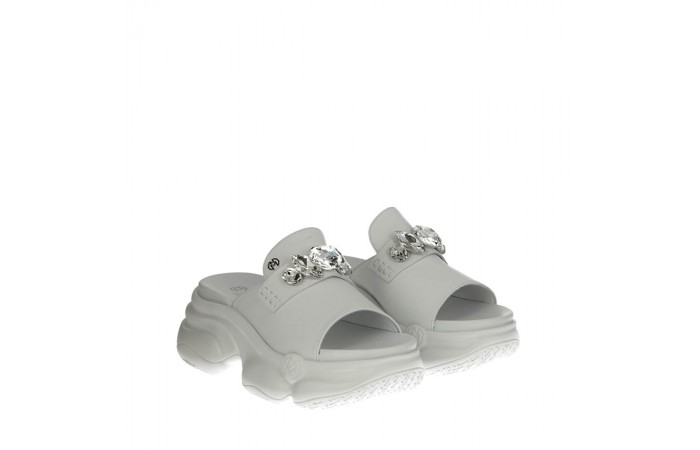 White calfskin Havana sandals
