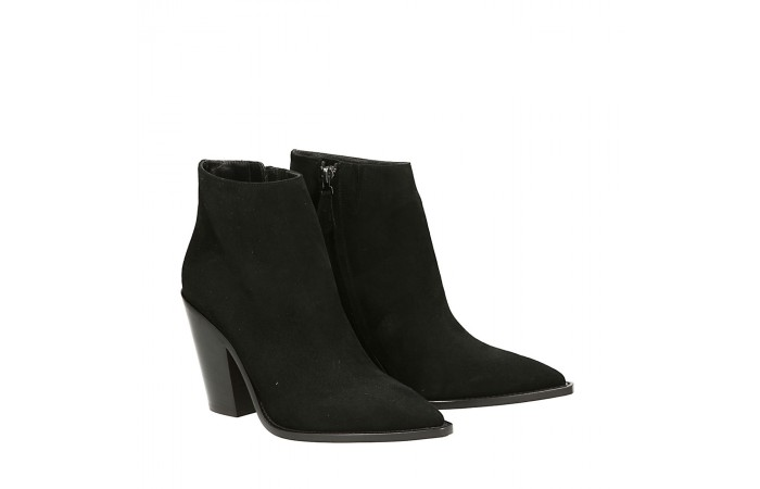 Black suede Cristal texan ankle boots