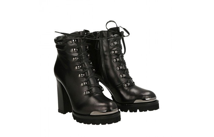 Black calfskin top Simon half boots