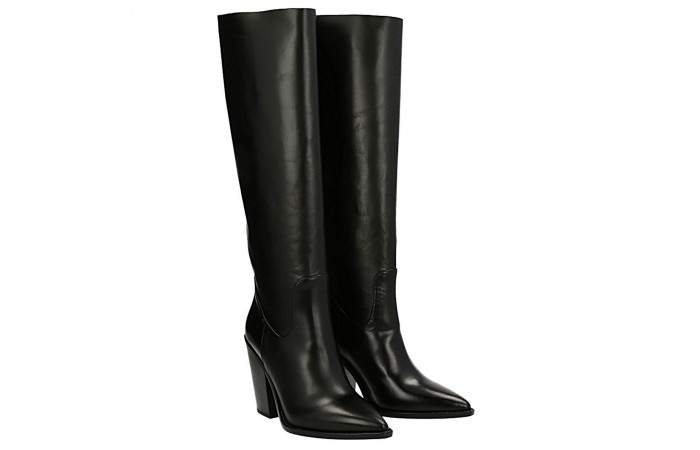 Black calfskin Dallas texan  boots