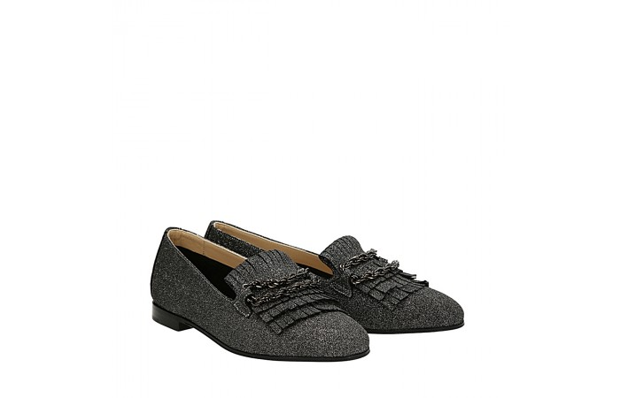Silver laminated suede Dandy loafers