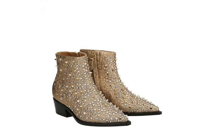 Gold Cristina texan ankle boots