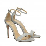 Pearl grey patent Bri sandals