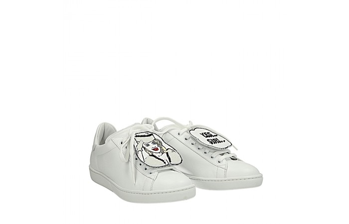 "White ""yes sir"" sneakers"