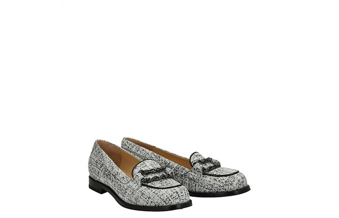 Tweed leather Chicca moccasin