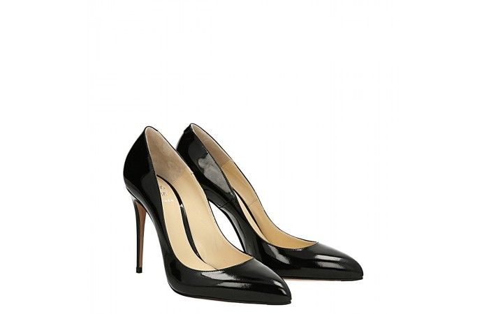 Black shiny leather Top pump