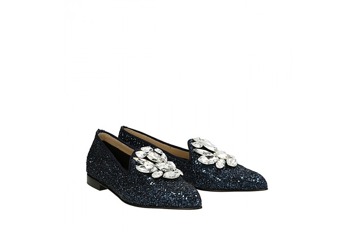 Blue glitter Blogger loafers
