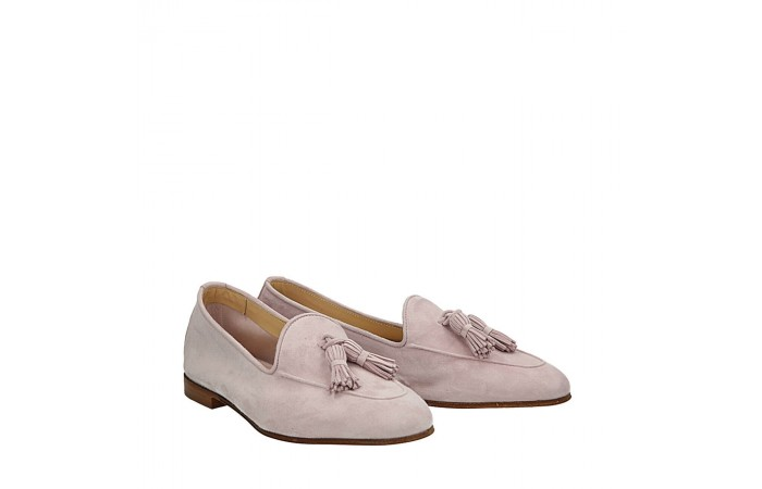Pink  suede Dandy loafers