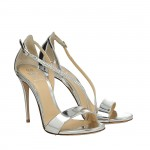 Silver mirrored calfskin Bri sandals