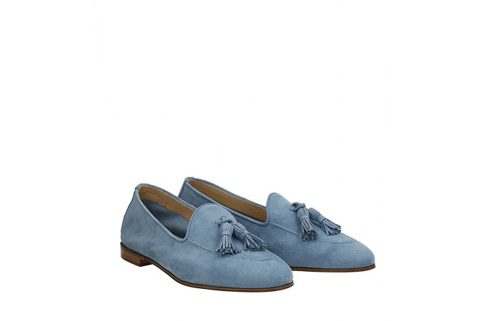 Pale blue suede Dandy loafers