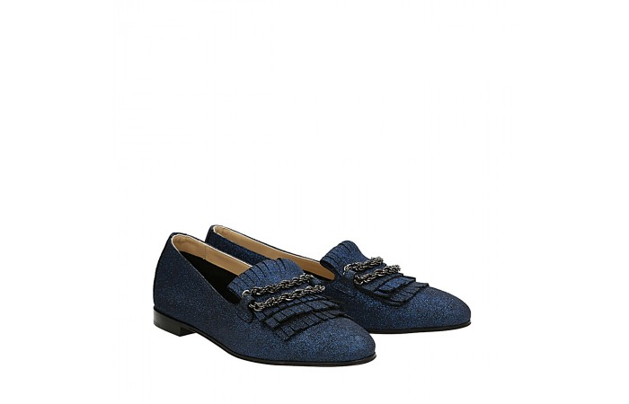 Blue laminated suede Dandy loafers