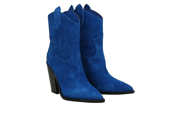 Blue suede Dallas texan ankle boots