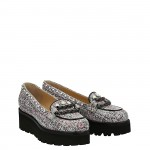 Tweed suede Chicca wedge moccasin