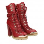 Red calfskin top Simon half boots