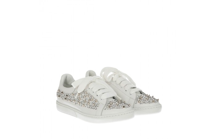 White crystals sneakers mower