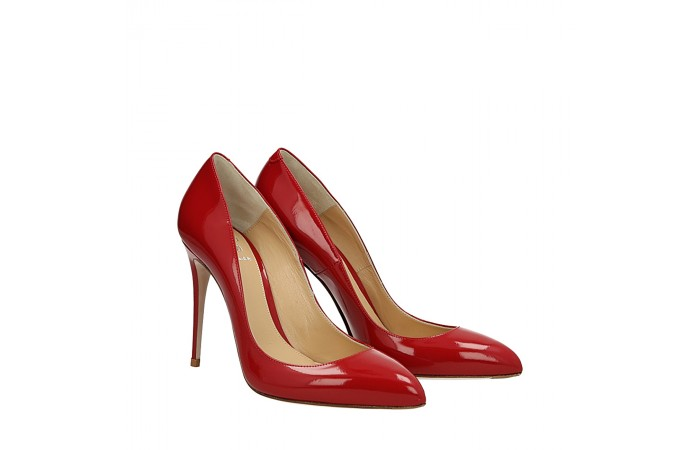 Red shiny leather Top pump