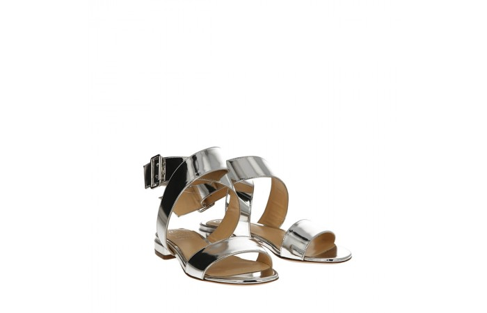 Silver mirrored calfskin Ondina sandals