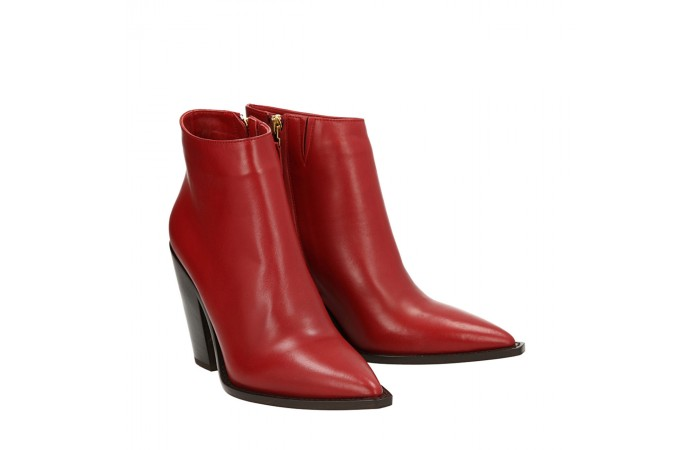 Red napa Cristal texan ankle boots