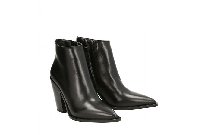Black napa Cristal texan ankle boots