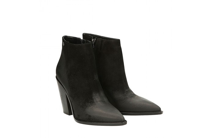 Black brush suede Dallas texan ankle boots