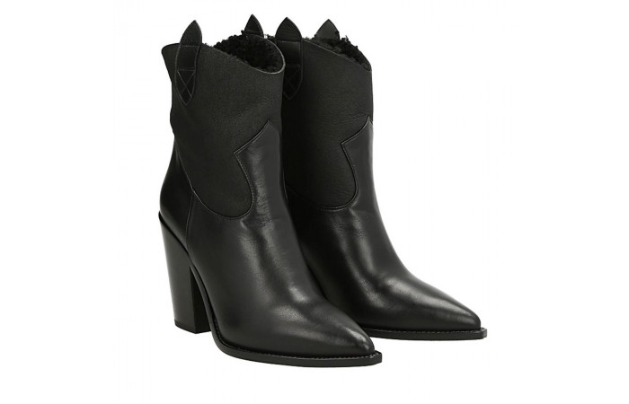 Black napa Dallas texan ankle boots