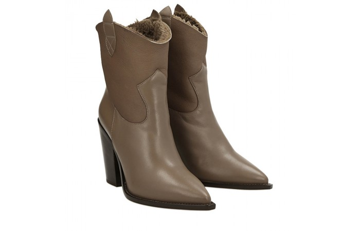 Dove grey suede Dallas texan ankle boots