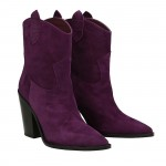 Violet suede Dallas texan ankle boots