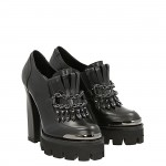 Ankle shoe top rider black calfskin and metal accessory